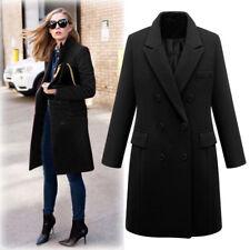 US Womens Winter Wide Lapel Wool Coat Trench Jacket Long Parka Overcoat Outwear