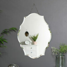 Ornate frameless scalloped bevelled wall mirror vintage chic decorative display