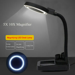 Magnifying LED Desk Table Light Magnifier Glass Repair Craft Reading Lamp 5/10X