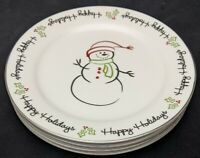 Set Of 4 Tis the Season ST NICHOLAS SQUARE Snowman/Holiday Dinner Plates