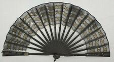 Vintage/Antique Black Lace Hand Fan with Black Frame Flowers & Silver Studs