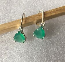 Sterling Silver 8MM Trillion Cut Natural Green Onyx Lever Back Earrings 2.60TCW
