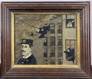 Antique 19th C. American Folk Art Firefighters Oil Painting AAFA PROVENANCE