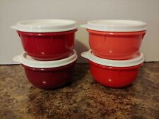 Tupperware Ideal Lit'l Bowls - Set of 4 - 8 oz Snack Cups w/Seals - Reds - Nip