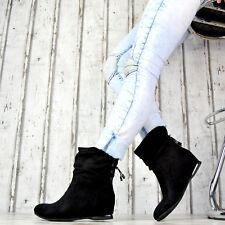 Neu Damen Stiefeletten Schlupfstiefel Damenschuhe Flach Boots GEFÜTTERT