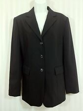 TALBOTS Sz 4 Black Classic Long Blazer Jacket 100% Wool