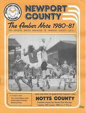 Football Programme>NEWPORT COUNTY v NOTTS COUNTY Aug 1980 FLC