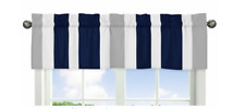 Window Valance Curtain For Sweet Jojo Design Gray Navy Blue White Stripe
