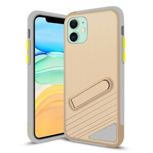 For iPhone 11 Case PC & Soft TPU Protective Cover with Magnetic Kick Stand Gold