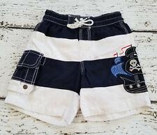 Baby Gap Boys Pirate Skull Striped Swim Shorts Trunks 18-12 Months *Play*