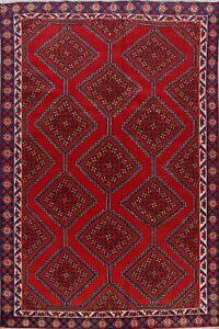 Vintage Geometric Bakhtiari Tribal Area Rug 6x9 Hand-Knotted Traditional Carpet