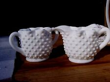 "Vintage Fenton Hobnail Milk Glass Crimped Sugar and Creamer Set 3"" tall 5"" long"