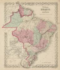 """""""Colton's Brazil & Guayana"""". Rio de Janeiro plan. Guyanas. Antique map 1863"""
