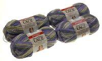 Premier Yarns Wool Free Lace Geode Lot 4 Skeins Purple Yellow Gray Acrylic Knit