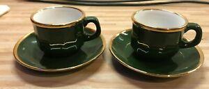 2 Espresso Tassen Set von Walküre aus Porzellan Grün mit Goldrand