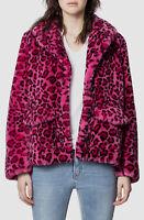 $877 Zadig & Voltaire Women's Pink Leopard Print Faux Fur Coat Jacket Size S