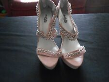 charlotte russe light pink  faux suede chain detail stiletto heel size 8 *flaws*
