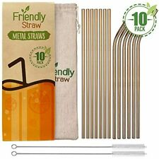"""Friendly Straw 10 Pack 10.5"""" X .25"""" Reusable Metal Straws, Straight Elbow Steel"""