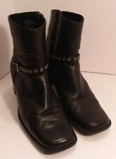 "7.5 M Bass ""Susan"" Black Leather High Heel Zip Up Ankle Boots heels shoes goth"