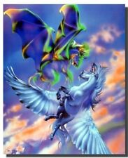 Mythical Pegasus Fighting Flying Horse Wall Decor Art Print Poster (16x20)