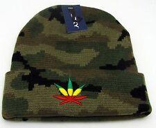 MARIJUANA Skull Cap Cuffed Beanie Winter Hat Rasta Reggae Weed Cuff Camouflage