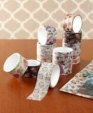 12 Pc Floral Flower Scrapbook Sticker Themed Craft Washi Masking 16' Tape Rolls