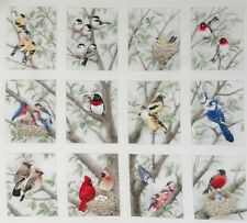 12 Block Fabric Panel Beautiful Bird Quilt Squares Chickadee Bluejay Cardinal