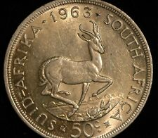 South Africa Crown Fifty Cents 1963 .500 Silver (Tray 110)