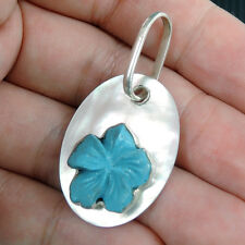Turquoise Resin Flower & Mother of Pearl 925 Sterling Silver Pendant Jewellery