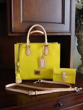 Dooney & Bourke Yellow Janine Satchel Handbag Matching Wallet Shoulder Bag Strap