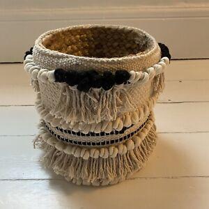 Boho Seagrass Small Basket Storage Macrame Woven