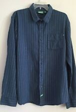 VANS mens size XL blue button front shirt 100% cotton flannel striped