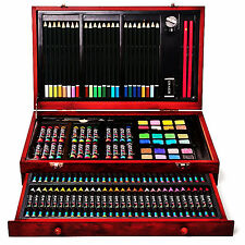 Art Set Drawing Professional Box Watercolors Paints New 142 Piece Wooden Case
