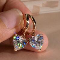 Fashion CZ Heart Zircon Dangle Earrings Crystal Drop Hoop Women Jewellery Gifts