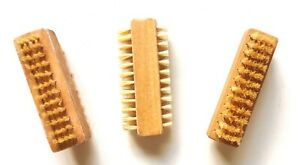 LOT 3 Premium Quality Natural Bristle Wooden Wood Manicure Nail Cleaning Brush