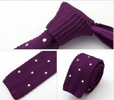 "Men 2"" Knit Knitted Flat Tie Party Narrow Necktie Purple White Polka Dot"