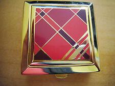 New listing Estee Lauder Pressed Powder Compact Beautiful Red Geometric Design, Plaid & Gold