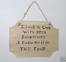 Hand Painted I Love To Cook With Beer Hanging Wall Plaque Refrigerator MagnetNew