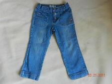 Oshkosh 3T light denim Jeans with pink flowers stretch back waist