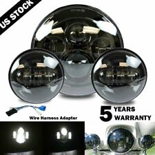 """New 7"""" LED Projector Headlight + Passing Lights Fit for Harley Touring Black"""