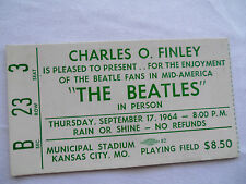 BEATLES Original_1964_CONCERT TICKET STUB__HARDLY SEEN $8.50___Kansas City__EX++