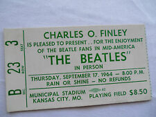 BEATLES Original_1964_CONCERT TICKET STUB__$8.50 FIELD SEAT!!__Kansas City__EX++