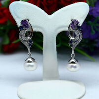 NATURAL WHITE PEARL AMETHYST SAPPHIRE & CZ EARRINGS 925 STERLING SILVER