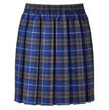 Age 5-12 Girls School Tartan Red Blue Box Pleat Elastic Knee Length Skirt