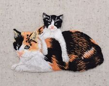 Calico Cats - Mother/Baby Kitten - Animals - Iron on Applique/Embroidered Patch