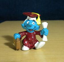 Smurfs 20130 Graduation Smurf Rare Purple Gown PVC Figure Vintage Toy Figurine