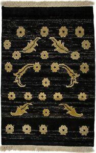 Handmade Small Entrance 2X3 Floral Design Black Oriental Rug Home Kitchen Carpet