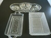VINTAGE GLASS SERVERS, LEADED-HOBNAIL-PRESSED GLASS, SET OF 3