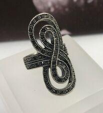Lucky Brand Silver Tone Marcasite Style Black Rhinestone Ring Size 7 EUC
