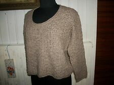 Pull court maille beige acrylique/laine AN'GE T.U 42/44 grand col rond